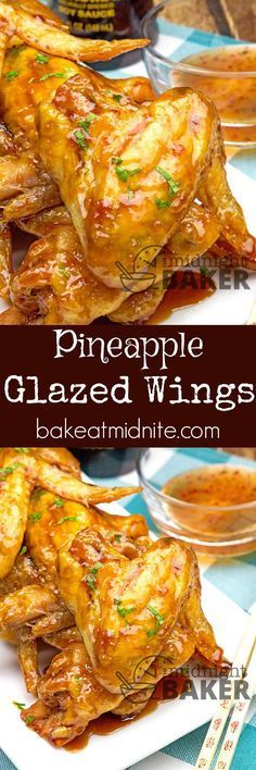 A sweet and sour pineapple glaze makes this wings finger lickin' good! Great for holiday appetizers! A sweet and sour pineapple glaze makes this wings finger lickin' good! Great for holiday appetizers! Turkey Recipes, Meat Recipes, Appetizer Recipes, Holiday Appetizers, Cooking Recipes, Meat Appetizers, Appetizer Dessert, Dessert Bread, Holiday Treats