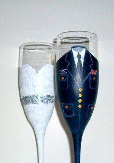 United States Coast Guard and Wedding Dress Hand Painted Champagne Flutes Set of 2 / 6 oz. on Etsy, $45.00