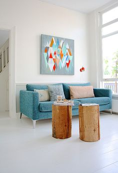 Interior, Comfortable And Cool Blue Loveseat With Fancy Art Picture As Chic Decorative Wall And Simple Wooden Coffee Table In Sophisticated Scandinavian Living Room Decor: Fantastic Scandinavian Style Interior Design My Living Room, Home And Living, Living Room Decor, Home And Family, Living Room Inspiration, Interior Inspiration, Interior Ideas, Modern Interior, Turbulence Deco