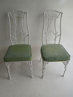 Pair cast iron metal dining  patio chairs Kessler greek key Hollywood Regency Vintage Metal Chairs, Vintage Patio, Patio Chairs, Dining Chairs, Greek Key, Hollywood Regency, Wrought Iron, Cast Iron, Outdoor Furniture
