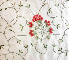 White Silk with Red Pink Flowers. Embroidered, Silk Fabric.