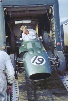 GP of Great Britain, Silverstone, 1960. An Aston Martin DBR5 is unloaded.