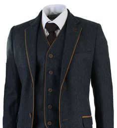 Mens Herringbone Tweed 3 Piece Suit Vintage Tailored Fit Brown Suede Patch Blue in Clothes, Shoes & Accessories, Men's Clothing, Suits & Tailoring | eBay!
