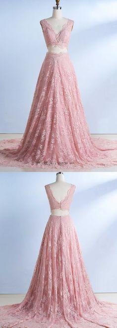 pink prom dresses, prom dresses 2017, two piece prom dresses, 2 piece prom dresses, lace prom dresse, v neck prom dresses @dresstell