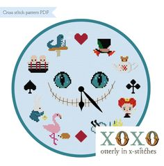 Alice in Wonderland Clock Cross Stitch Pattern Digital Download PDF File Cheshire Cat Pattern Mad Hatter XStitch Home Decor DIY Clock