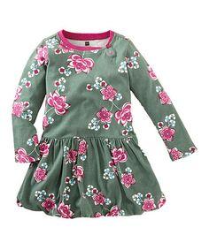 Look at this #zulilyfind! Pine Green Floral Bubble Jianzhi Dress - Infant & Girls #zulilyfinds