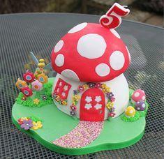 Fairy House Cake, Fairy Garden Cake, Garden Cakes, Fairy Cakes, Fairy Houses, Birthday Cake For Mum, Fairy Birthday Cake, Birthday Cakes, 4th Birthday