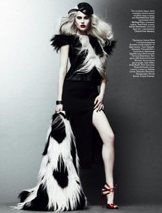 I love this Cruella-esque black and white editorial for Vogue Russia. Repeating the same head-to-toe, straight-on perspective for each shot put the ...