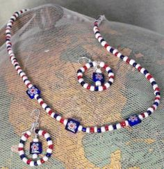 Patriotic  Necklace and earrings by earthborngoddes on Etsy, $10.00