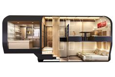 A full view of a deluxe suite, complete with a separate sitting room and bath area, on JR East's luxury cruise train.