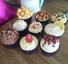 A selection of our cupcake flavours - available from the website, facebook or XOXO florist in Peterculter! Popcorn, snickers, cookie dough, vanilla, baileys biscotti, gin and tonic, chocolated pretzel, raspberry and white chocolate and whiskey maple bacon! Which one would you choose?