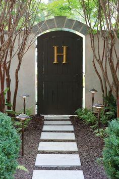bronze letter on door/gate - via Hinkley Lighting Pathway Lighting, Path Lights, Outdoor Lighting, Outdoor Decor, Outdoor Landscaping, Outdoor Art, Door Gate, Entry Gates, Hinkley Lighting