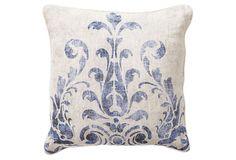 Fern 18x18 Cotton Pillow, Navy on OneKingsLane.com