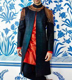 Blue Hand Embroidered Sherwani With Silk Kurta & Cotton Linen Trousers http://dealsheel.com