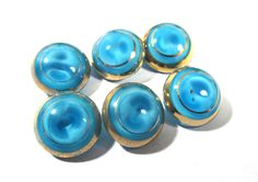 Blue Moonglow Glass Buttons West Germany VINTAGE Blue Glass Gold Luster Buttons Six (6) Glass Vintage Buttons Jewelry Sewing Supplies (D29) by punksrus on Etsy