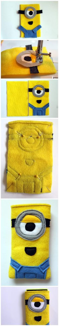 DIY Despicable Me Minion Phone Cozy I could use this same idea to make lee a blankie or pillow.
