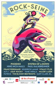 Rock ens seine 2013 fingers crossed we have enough time to go hoping the last day we will. That's when Phoenix are playing! Gig Poster, Poster Prints, Illustration Photo, Graphic Illustration, Kendrick Lamar, Graphic Design Typography, Graphic Design Art, Festival Beauregard, Festival Rock En Seine