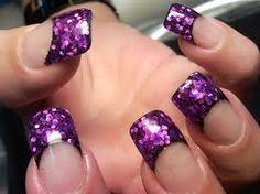 Purple Glitter French Acrylic - Nails photo if I had acrylics I'd dig this Purple Glitter Nails, Purple Nail Art, Glittery Nails, Glitter Nail Art, Fancy Nails, Love Nails, Trendy Nails, Glitter Manicure, Purple Sparkle