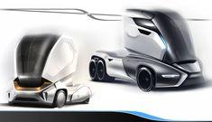 Truck Concepts-Design Sketches by Giuseppe Ceccio Car Design Sketch, Truck Design, Design Autos, Future Trucks, Future Car, Electric Truck, Monster Truck Birthday, Futuristic Cars, Futuristic Vehicles
