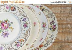 On Sale Mismatched Vintage Dinner Plates Set of 4 Bavarian