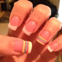 Summer Nails!  Pink & White acrylic with pin stripes.
