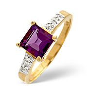 The Diamond Store.co.uk Amethyst and 0.03CT Diamond Ring 9K Yellow Gold Amethyst amp