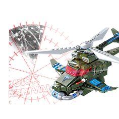 14881001-251PCS Red Alert Series Cryocopter Milary USA Flash Freeze Airplane Building Blocks Educational Toys
