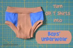 Use old t-shirts to sew cool boys' brief underwear! There is no elastic to dig into cut little potbellies, but a stretchy waistband keeps it in place. Toddler Underwear, Boys Underwear, Toddler Outfits, Baby Boy Outfits, Underwear Pattern, Make Your Own Clothes, Altering Clothes, Refashioning Clothes, Old T Shirts