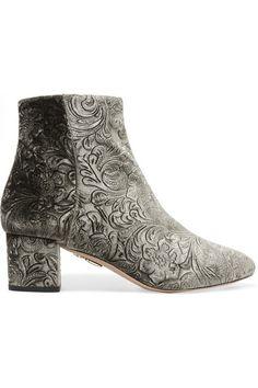 Heel measures approximately 50mm/ 2 inches Grey velvet Zip fastening along side…