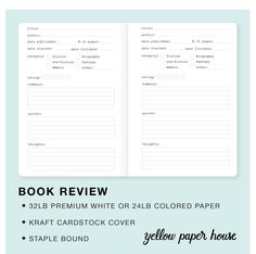 TRAVELERS NOTEBOOK INSERT - BOOK REVIEW – Yellow Paper House Bullet Journal Review, Bullet Journal Notebook, Bullet Journal Ideas Pages, Book Journal, Reading Log Printable, Bujo, Book Log, Sketch Notes, Business Journal