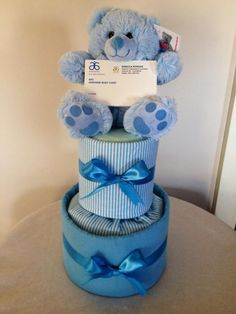 Baby Boy Nappy Cake by HolliesNappyCakes on Etsy
