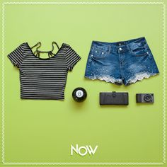 outfit nowlovers summer short jean top black rayas cool fashion girl play fun