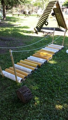 Wobbly bridge inspired by Reggio Emilia Kids Outdoor Play, Outdoor Play Spaces, Outdoor Learning, Outdoor Fun, Outdoor Activities, Preschool Playground, Preschool Garden, Sensory Garden, Backyard Playground