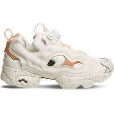 Reebok Insta Pump Fury trainers ($135) ❤ liked on Polyvore featuring shoes, print shoes, reebok footwear, reebok shoes, reebok and patterned shoes