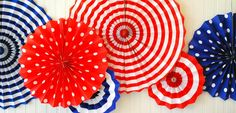 Fourth of July Hanging Paper Fans Rosettes and Hanging Pinwheels in Red White and Blue for perfect for 4th of July or Independence Day by PartyFetti on Etsy https://www.etsy.com/listing/190108907/fourth-of-july-hanging-paper-fans