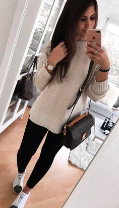 #winter #outfits  gray sweater and black leggings