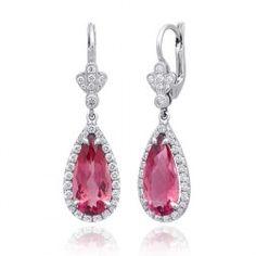 #Natural #Pink #Tourmaline 5.91 carats set in #Platinum #Earrings with #Diamonds