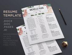 Creative CV Template Pastel Floral Background Cover Letter Resume Elegant Desig