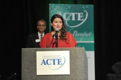 ACTE President-Elect, Sarah Heath, introduces the Member Award finalists.