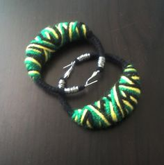 Jamaican Crossover yarn earrings LG by LaFleurArtistique on Etsy, $14.00