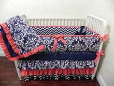 Baby Girl Crib Bedding Set Danielle - Girl Baby Bedding, Navy and Coral Crib Bedding, Ruffle Crib Skirt, Custom Nursery Bedding