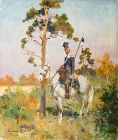 WOJCIECH KOSSAK (1856 - 1942)  UŁAN NA KONIU   olej, płótno / 54 x 46 cm