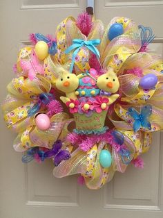 Easter Spring Mesh Wreath with Baby Chicks by Cindyswreathsand, $65.00