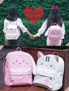 Tag your to share Cute Cartoon Backpack Click bio link 2 shop Kawaii Bags, Kawaii Bunny, Kawaii Clothes, Bags For Teens, Girls Bags, Cute Mini Backpacks, Girl Backpacks, Unicorn Hat, Bunny Outfit