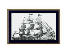 Sailing Ship Counted Cross Stitch Pattern / Chart,  Nautical Instant Digital Download   (AP393) Counted Cross Stitch Patterns, Cross Stitch Designs, Dmc Floss, Digital Pattern, White Patterns, Sailing Ships, Colours, Black And White, Boats