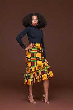 In Autumn the leaves drop, in the African Print Ren Pencil Skirt, jaws will. We'll apologise in advance for the envy you're going to generate, not only for wearing the African print Ren Pencil skirt, but for owning it. This piece is set to be the go to pe African Fashion Designers, African Inspired Fashion, African Print Fashion, Africa Fashion, Modern African Fashion, African American Fashion, African Print Skirt, African Print Dresses, African Fashion Dresses