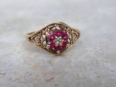 Ruby Diamond Cluster Filigree Ring 10k by LuceesTreasureChest