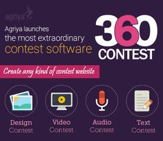 Agriya launched the most innovative and intuitive #contestsoftware-360Contest. It is a smart software can assist you to launch any kind of high-speed #designs, #audio, #video and #text contest website in 48 hours.  To know more about contest software: http://www.agriya.com/products/contest-software