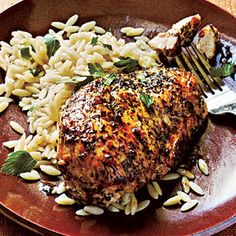 Superfast Chicken Recipes | Herb-Crusted Chicken and Parsley Orzo | CookingLight.com
