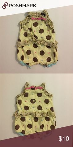 Polka dot romper Strapped yellow polka dot romper with snap enclosure. Rabbit Moon One Pieces Bodysuits